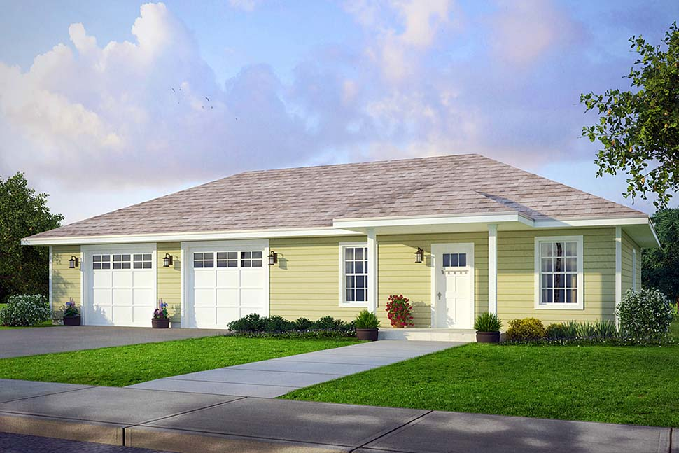 Country 2 Car Garage Apartment Plan 41297 with 1 Beds, 1 Baths Elevation