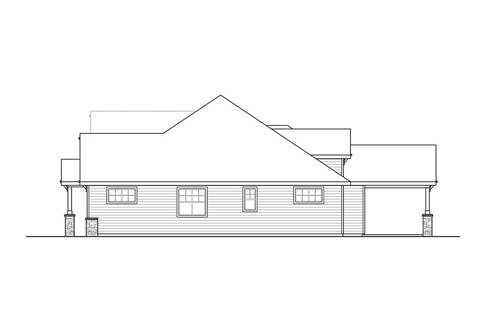 Craftsman, Ranch House Plan 41318 with 4 Beds, 3 Baths, 3 Car Garage Picture 2