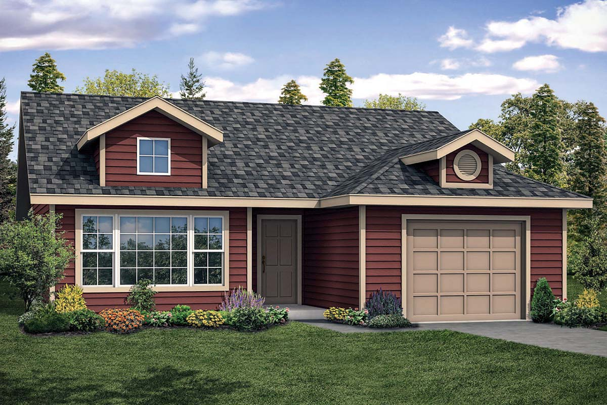Cottage, Country, Ranch House Plan 41334 with 2 Beds, 1 Baths, 1 Car Garage Elevation