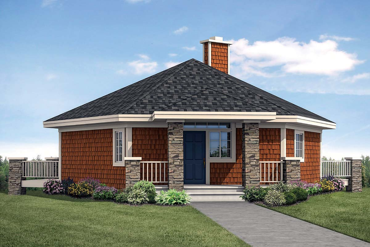 Cabin, Coastal, Craftsman, Prairie House Plan 41347 with 1 Beds, 1 Baths Elevation