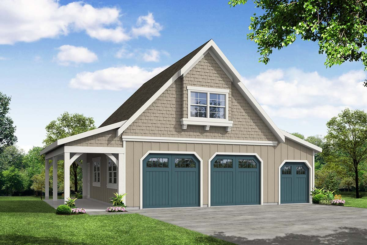 Country, Craftsman, Farmhouse 2 Car Garage Plan 41349 Elevation