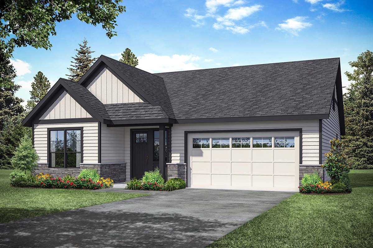 Ranch, Traditional House Plan 41354 with 3 Beds, 3 Baths, 2 Car Garage Elevation