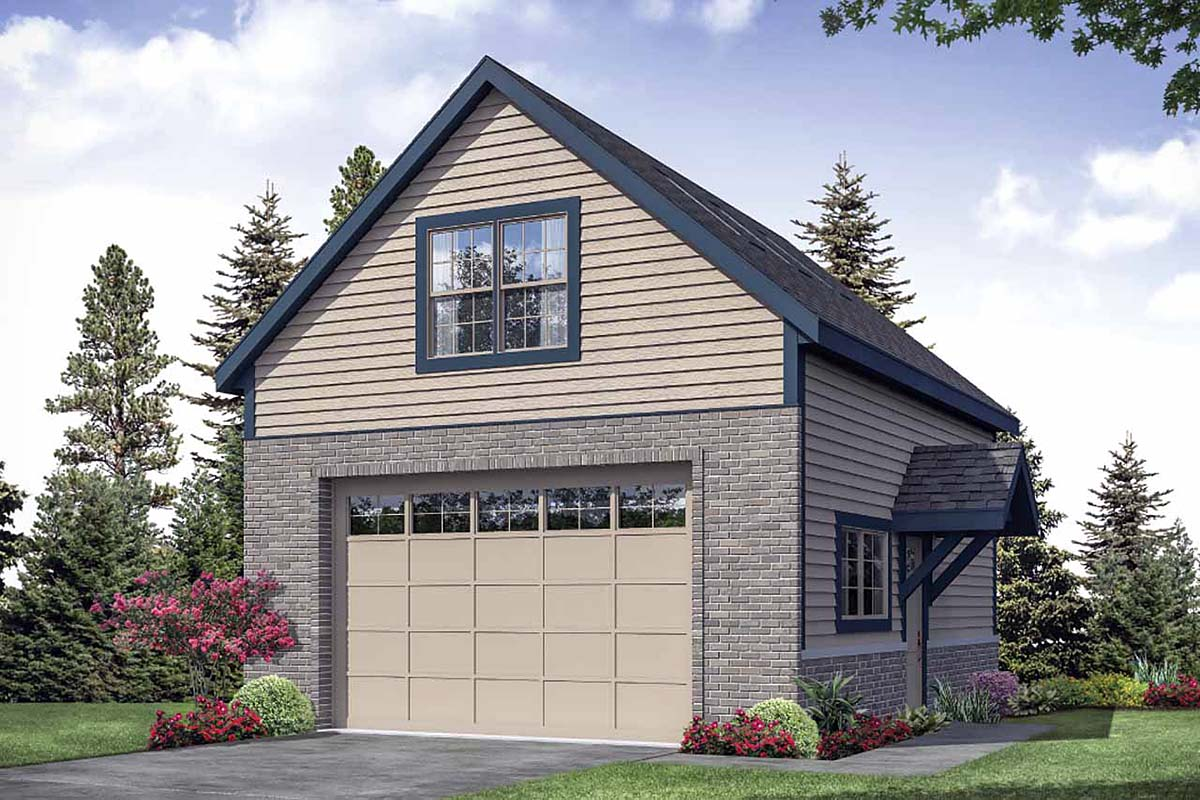Traditional 2 Car Garage Plan 41362 Front Elevation