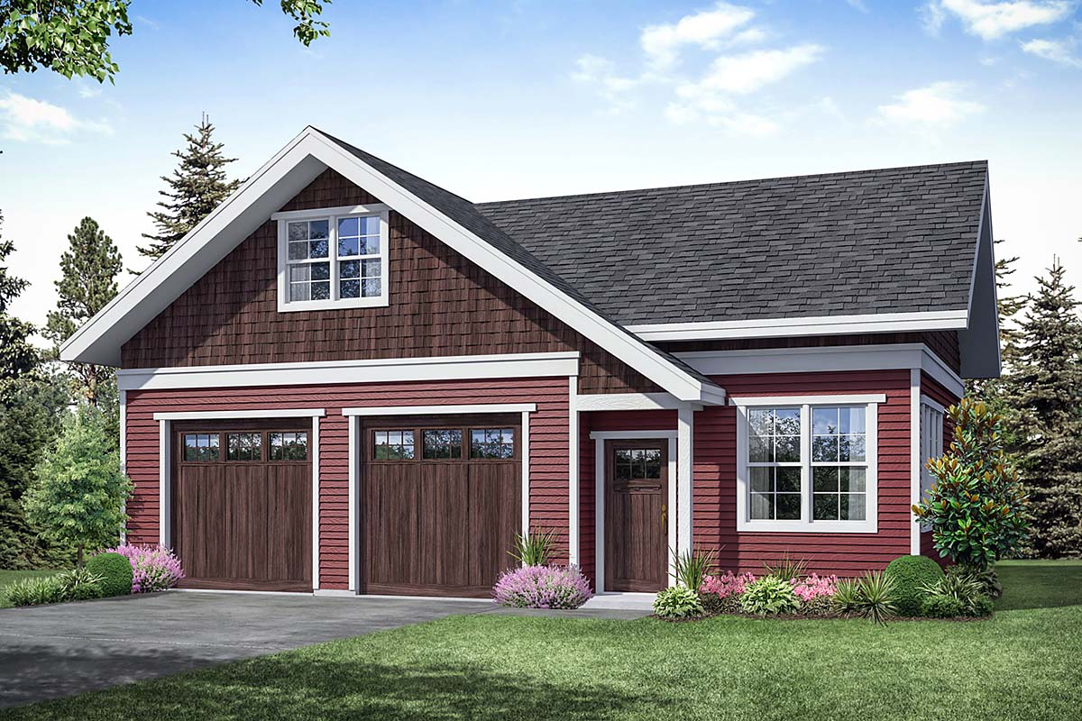 Cottage, Country, Traditional 2 Car Garage Apartment Plan 41363 Front Elevation