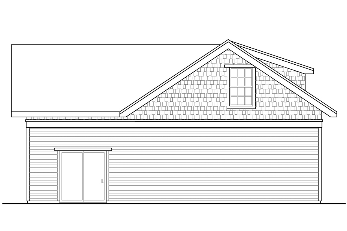 Cottage, Country, Traditional 2 Car Garage Apartment Plan 41363 Rear Elevation