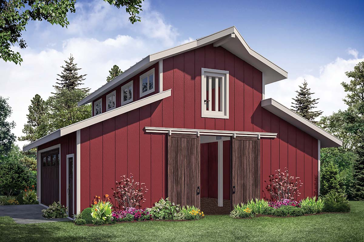 Traditional 2 Car Garage Plan 41364 Front Elevation
