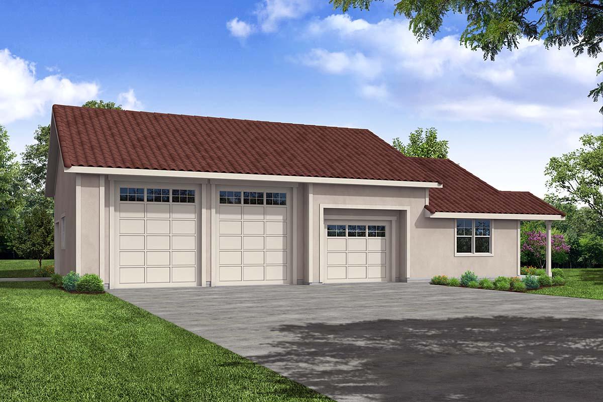 Florida, Southwest 3 Car Garage Plan 41366 Front Elevation