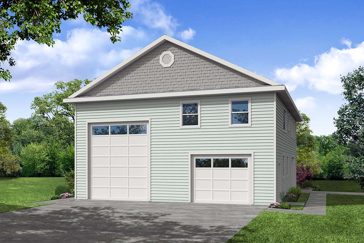 Country, Ranch, Traditional 2 Car Garage Apartment Plan 41371 with 1 Beds, 2 Baths, RV Storage Front Elevation