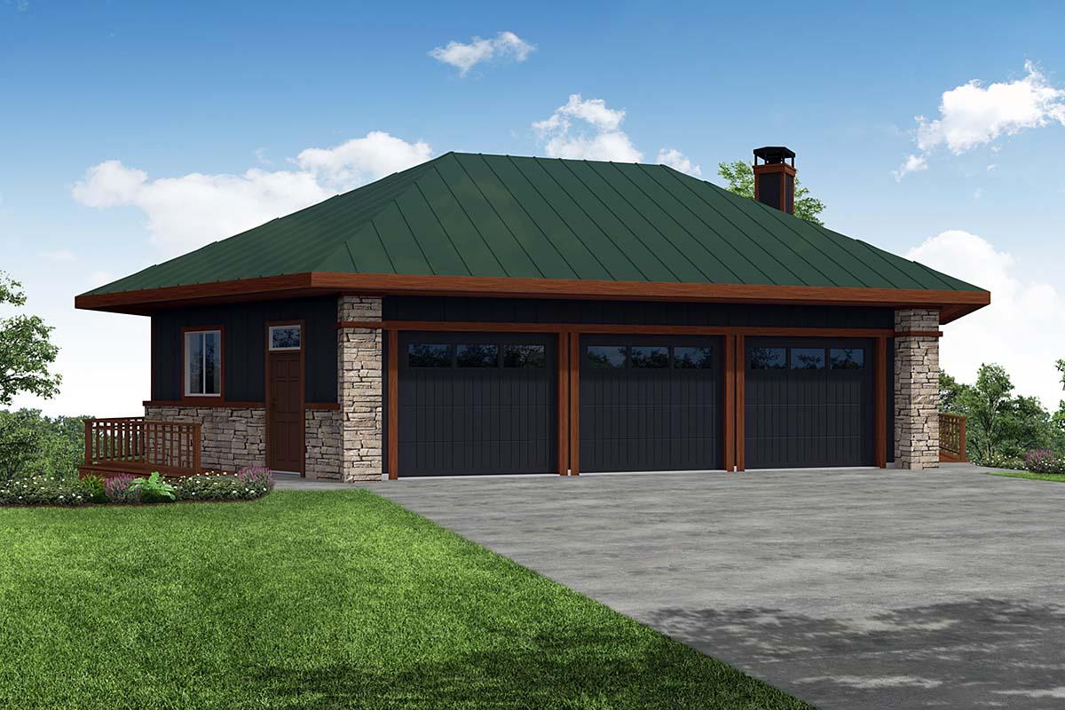Contemporary, Craftsman 6 Car Garage Plan 41372 Front Elevation