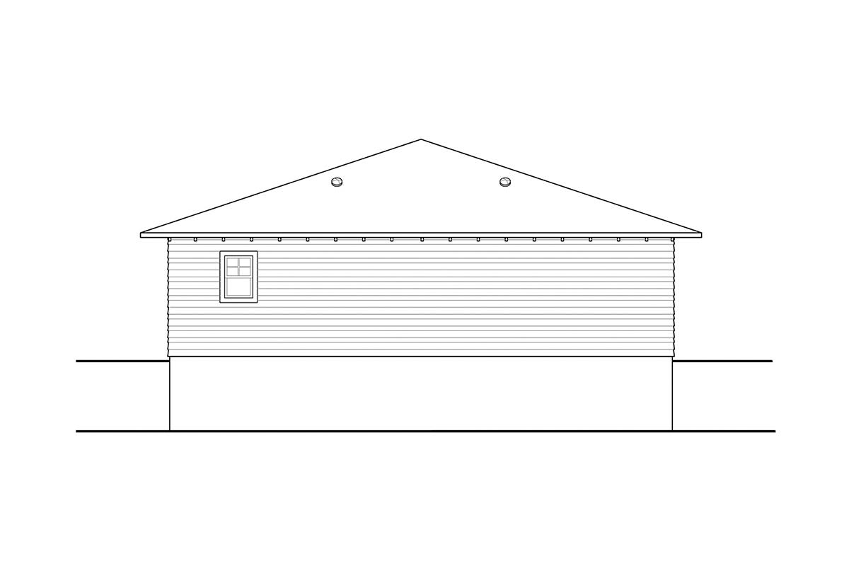 Craftsman, Prairie, Traditional 2 Car Garage Plan 41374 Rear Elevation