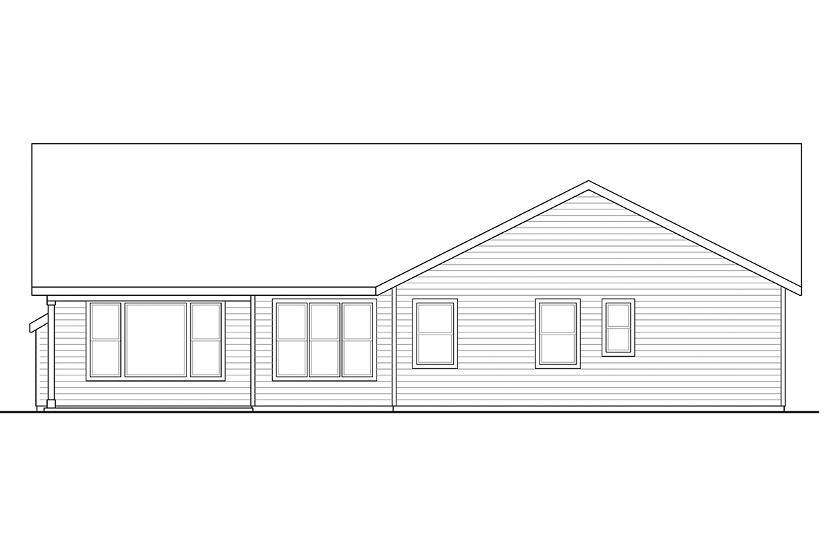 Country, Ranch, Traditional House Plan 41375 with 3 Beds, 2 Baths, 2 Car Garage Rear Elevation