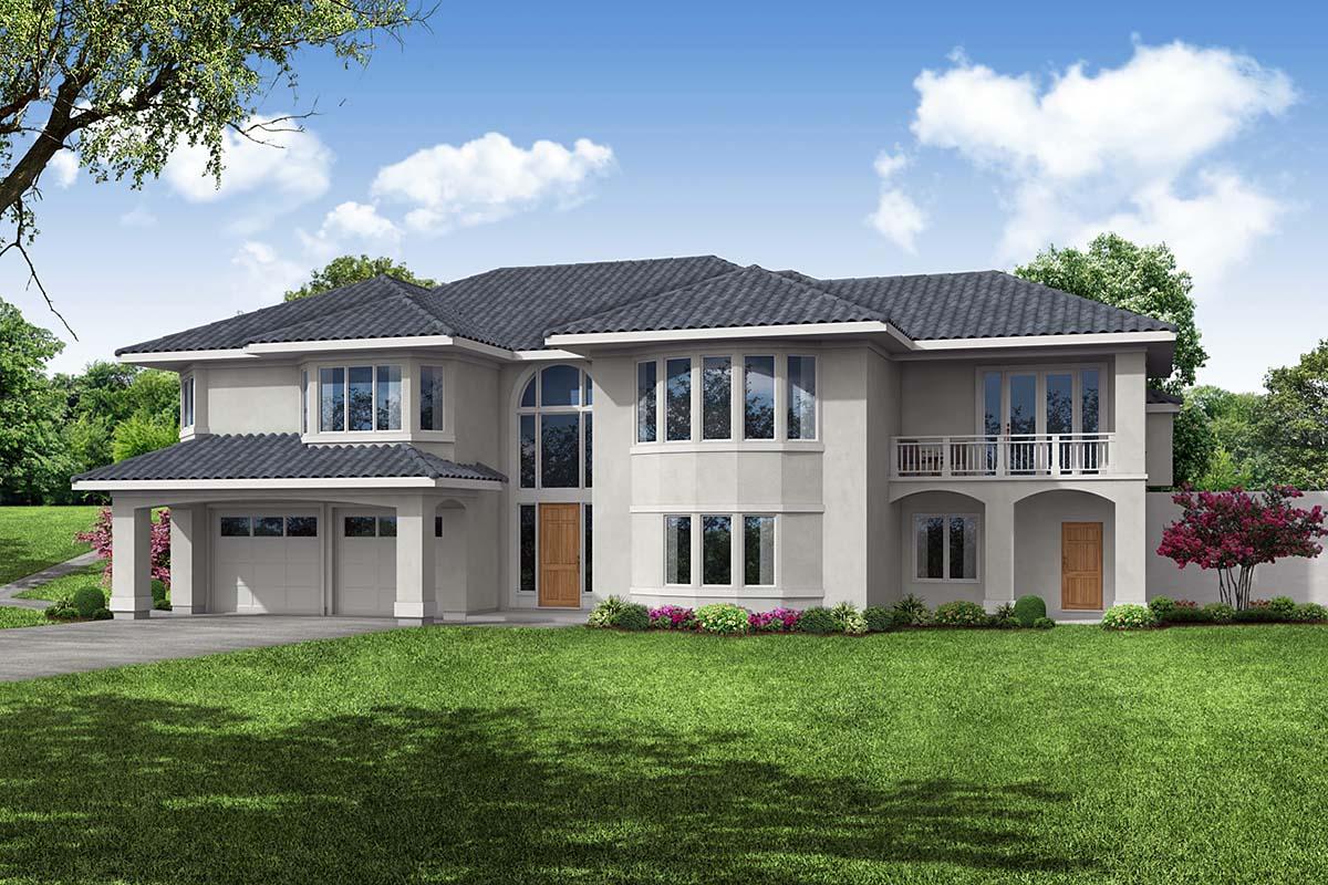 Mediterranean, Southwest House Plan 41376 with 3 Beds, 3 Baths, 2 Car Garage Elevation