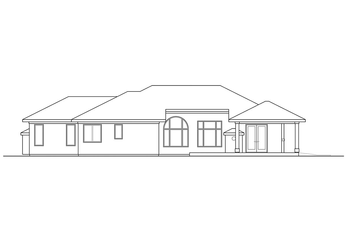 Mediterranean, Southwest House Plan 41376 with 3 Beds, 3 Baths, 2 Car Garage Rear Elevation