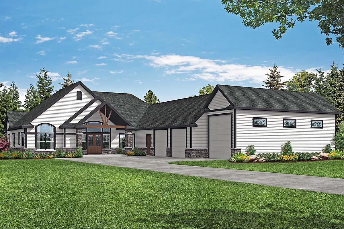 Country, Craftsman, Ranch House Plan 41377 with 2 Beds, 3 Baths, 3 Car Garage Elevation