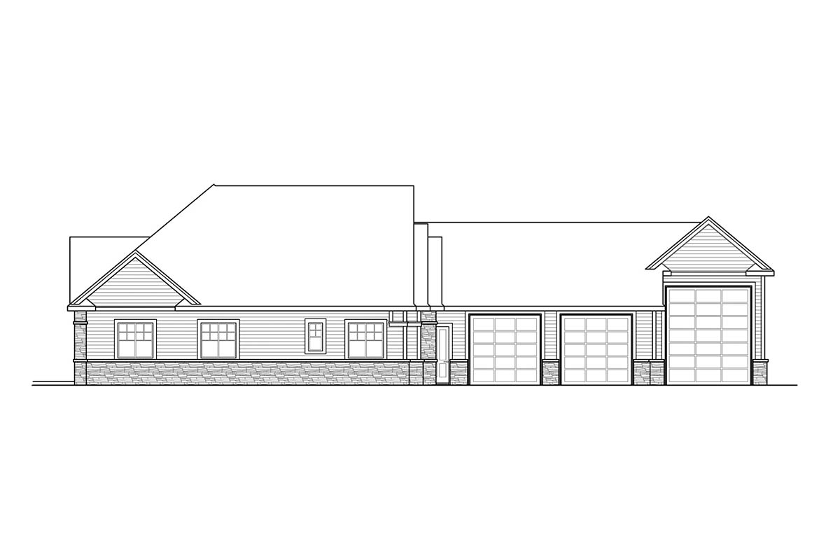 Country, Craftsman, Ranch House Plan 41377 with 2 Beds, 3 Baths, 3 Car Garage Picture 2