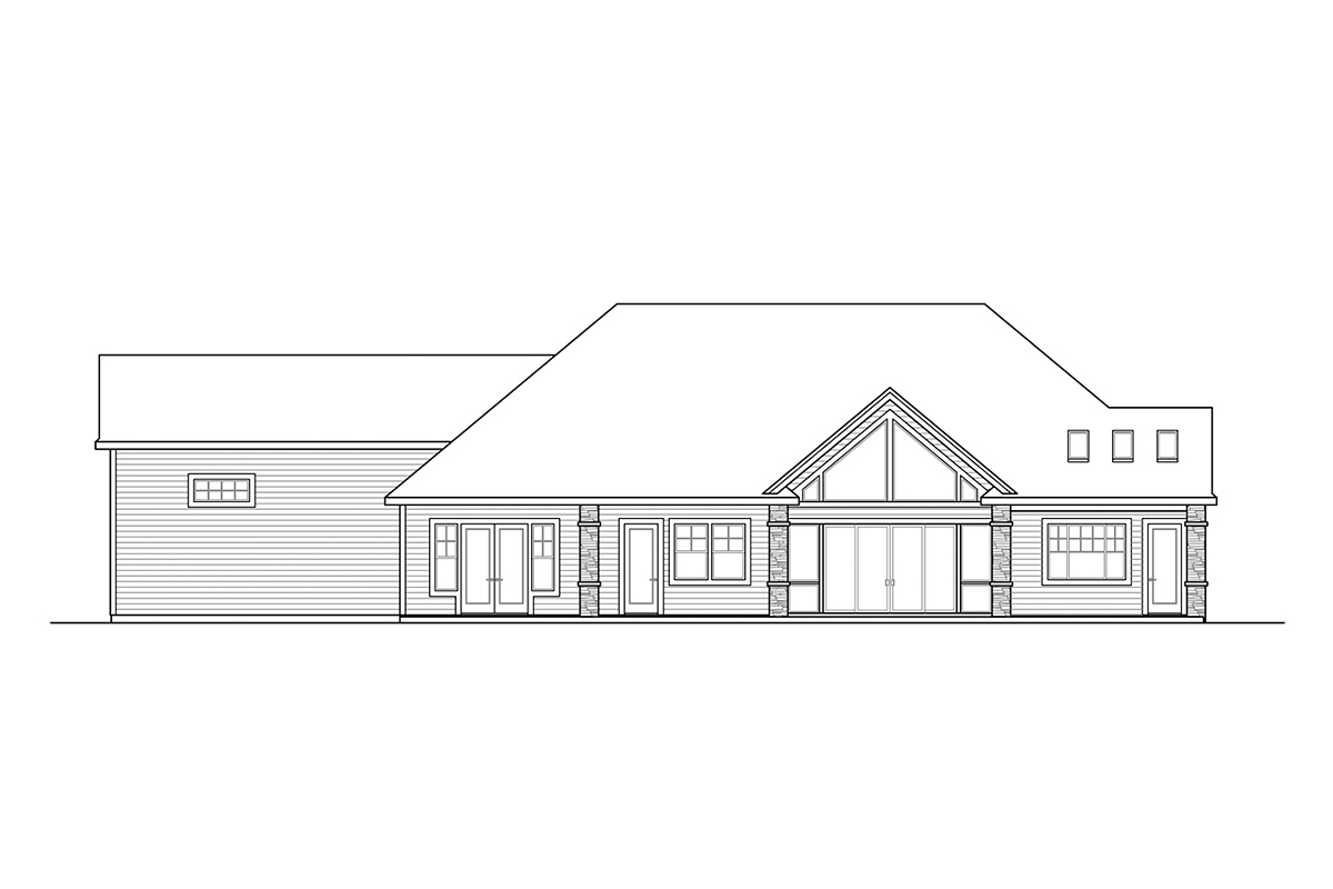 Country, Craftsman, Ranch House Plan 41377 with 2 Beds, 3 Baths, 3 Car Garage Rear Elevation