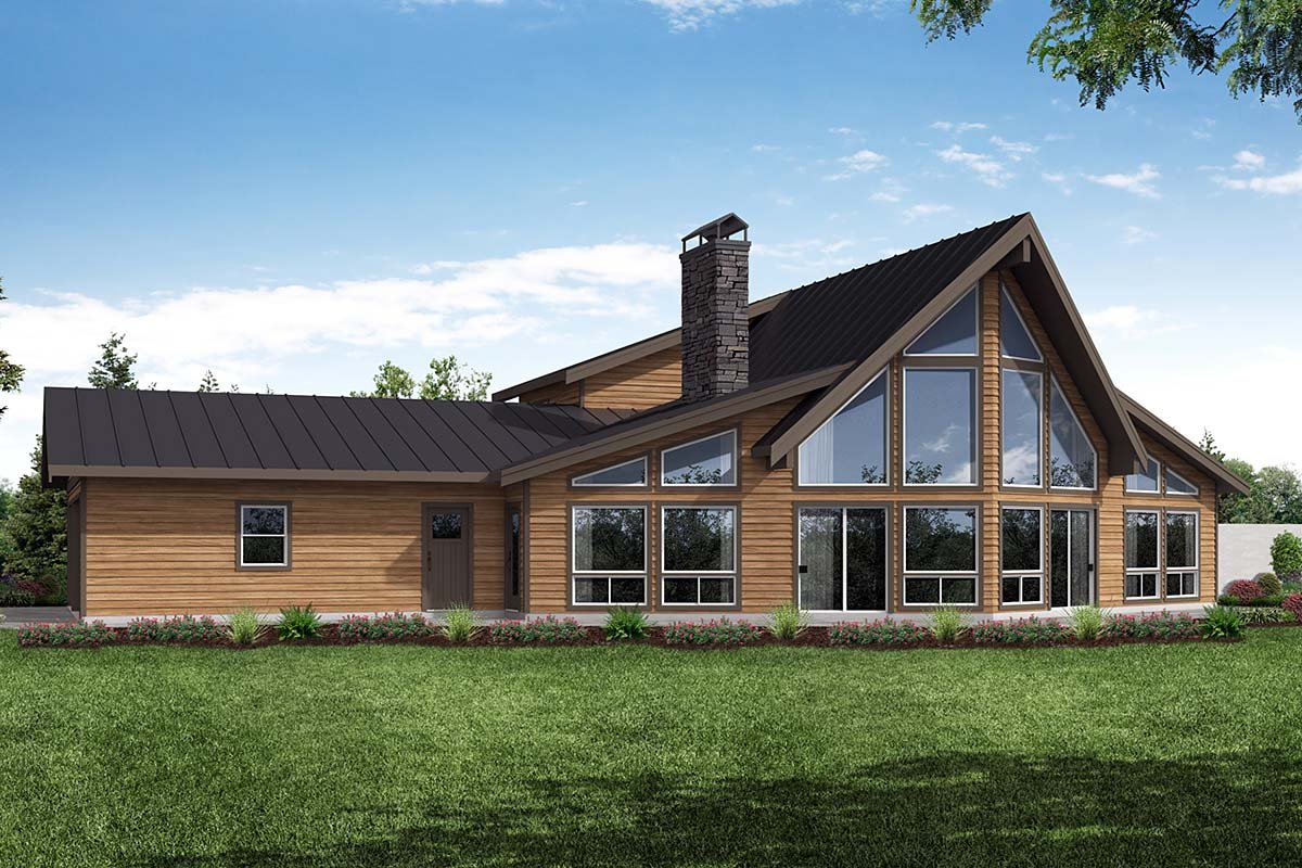 A-Frame, Country House Plan 41378 with 2 Beds, 2 Baths, 3 Car Garage Elevation