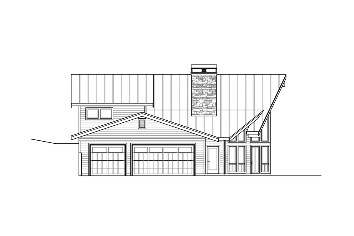 A-Frame, Country House Plan 41378 with 2 Beds, 2 Baths, 3 Car Garage Picture 2