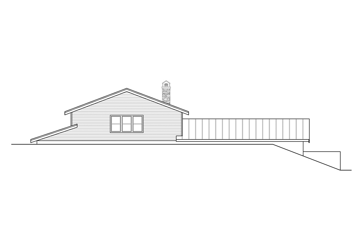 A-Frame, Country House Plan 41378 with 2 Beds, 2 Baths, 3 Car Garage Rear Elevation