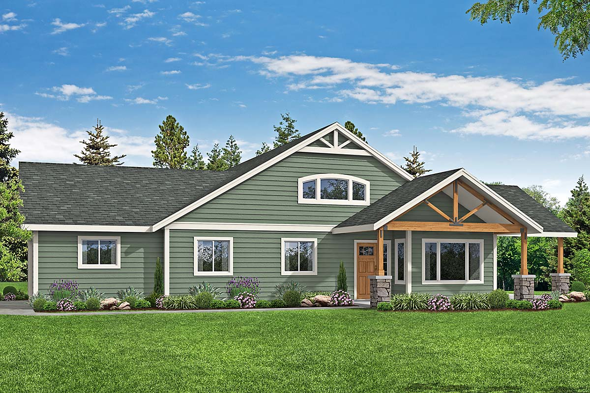 Country, Craftsman, Ranch House Plan 41379 with 4 Beds, 2 Baths, 2 Car Garage Elevation