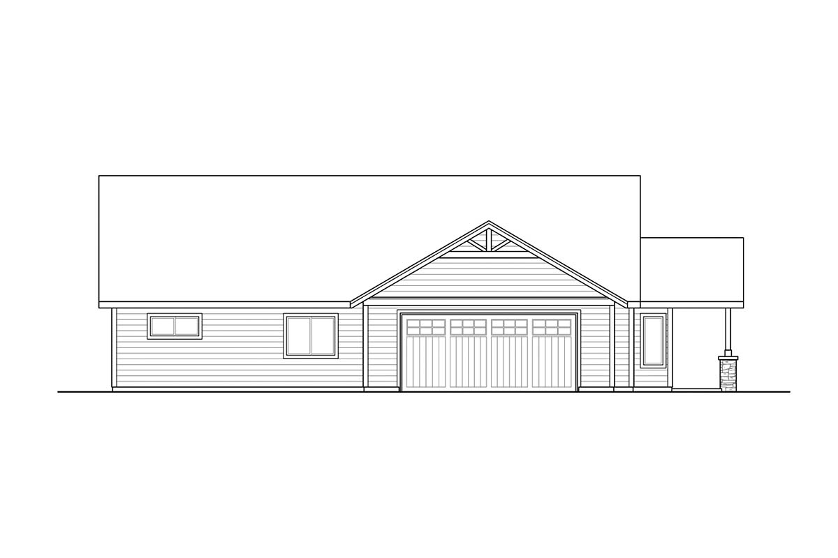 Country, Craftsman, Ranch House Plan 41379 with 4 Beds, 2 Baths, 2 Car Garage Picture 2