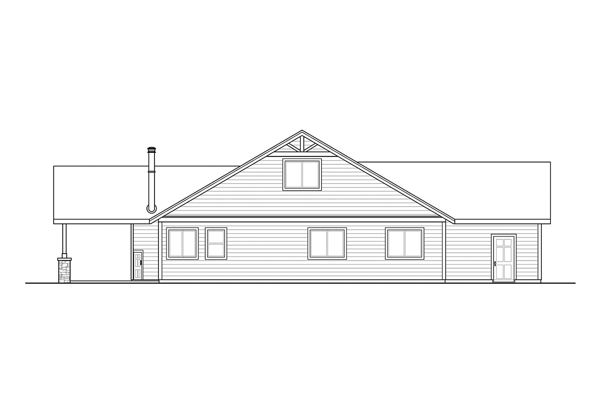 Country, Craftsman, Ranch House Plan 41379 with 4 Beds, 2 Baths, 2 Car Garage Rear Elevation
