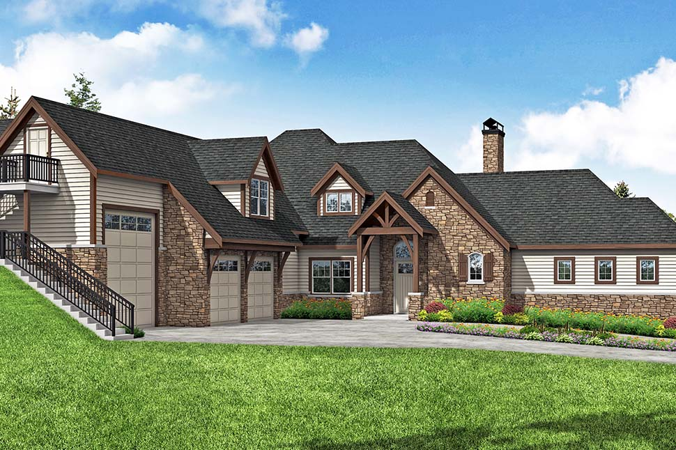 Craftsman, European House Plan 41380 with 4 Beds, 6 Baths, 3 Car Garage Picture 3