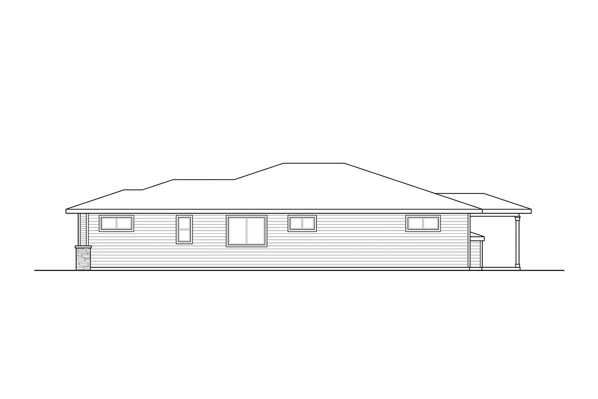 Contemporary, Prairie, Traditional House Plan 41382, 2 Car Garage Picture 1