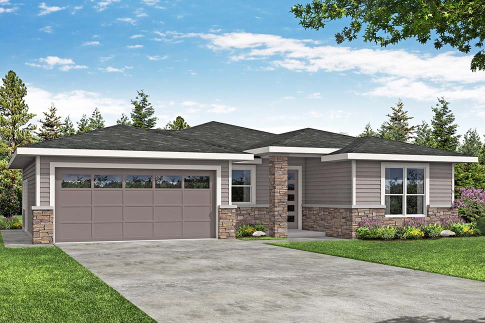 Contemporary, Prairie, Traditional House Plan 41382, 2 Car Garage Picture 3