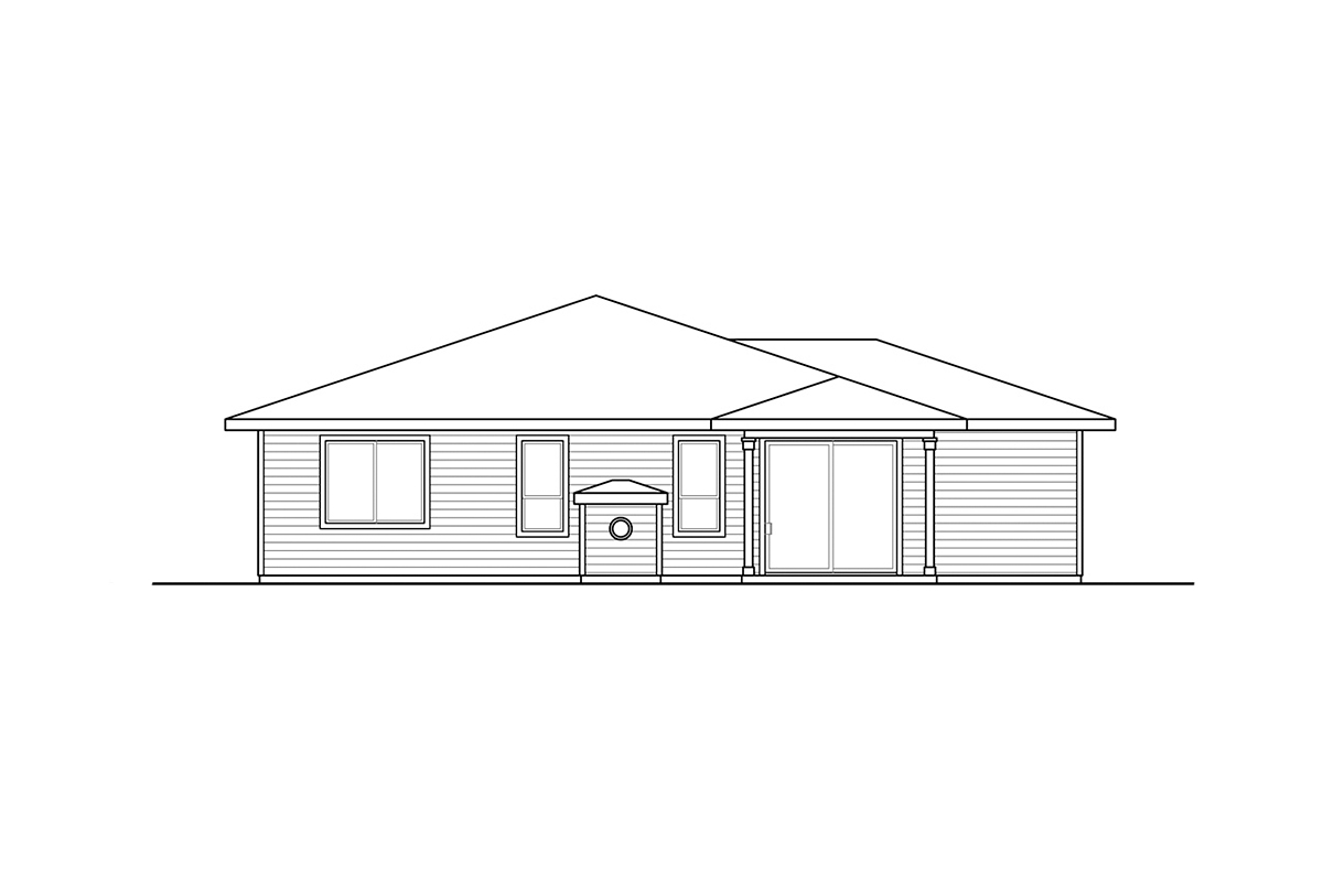 Contemporary, Prairie, Traditional House Plan 41382, 2 Car Garage Rear Elevation