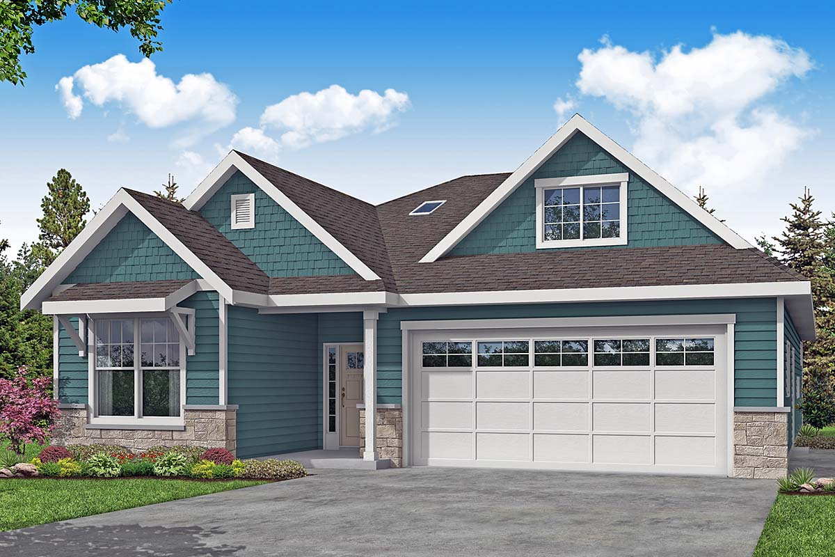 Country, Craftsman, Ranch, Traditional House Plan 41383 with 3 Beds, 2 Baths, 2 Car Garage Elevation