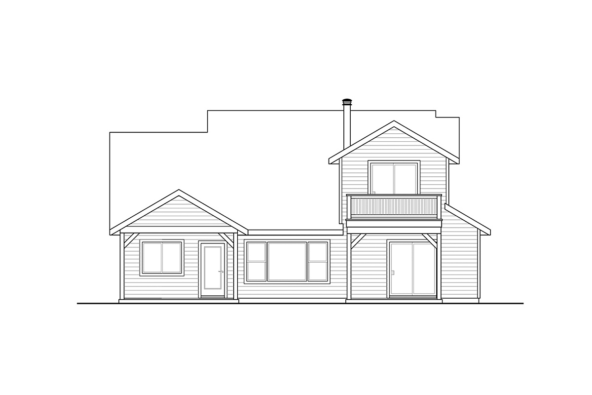Country, Craftsman, Traditional House Plan 41384 with 3 Beds, 3 Baths, 2 Car Garage Rear Elevation