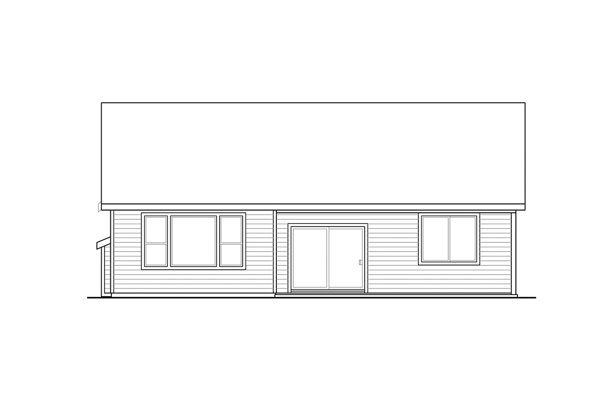 Contemporary, Country, Ranch House Plan 41385 with 3 Beds, 2 Baths, 2 Car Garage Rear Elevation