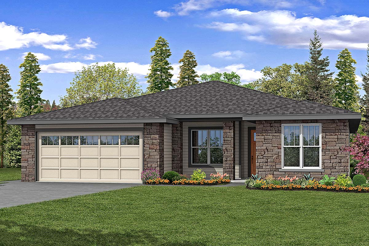 Country, Prairie, Ranch House Plan 41386 with 3 Beds, 3 Baths, 2 Car Garage Elevation
