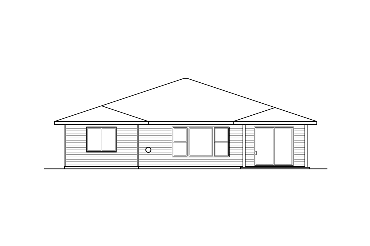 Country, Prairie, Ranch House Plan 41386 with 3 Beds, 3 Baths, 2 Car Garage Rear Elevation