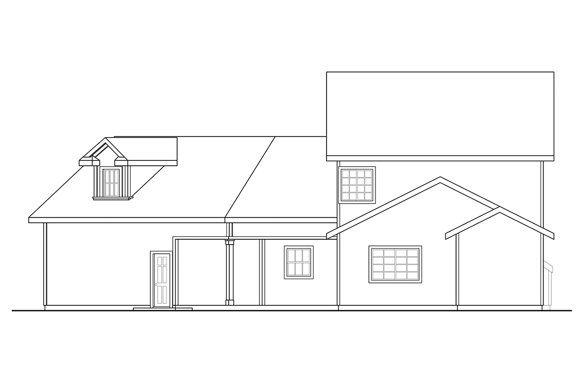 Country, Traditional House Plan 41393 with 4 Beds, 4 Baths, 2 Car Garage Rear Elevation