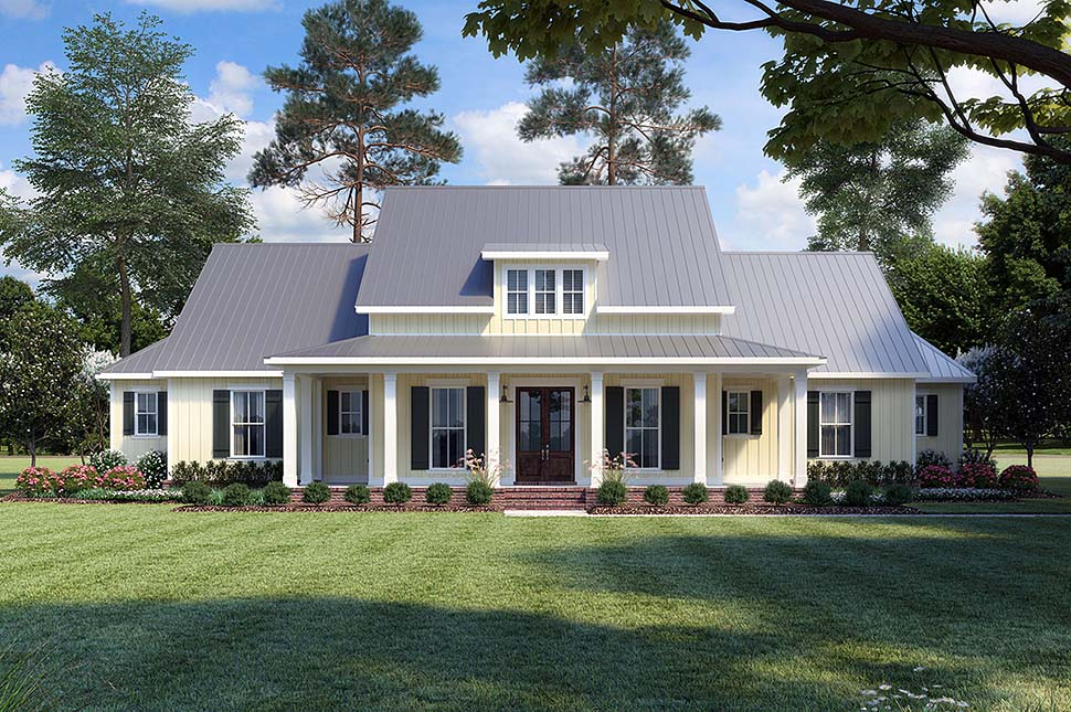 Country, Farmhouse, Traditional House Plan 41400 with 3 Beds, 3 Baths, 2 Car Garage Front Elevation