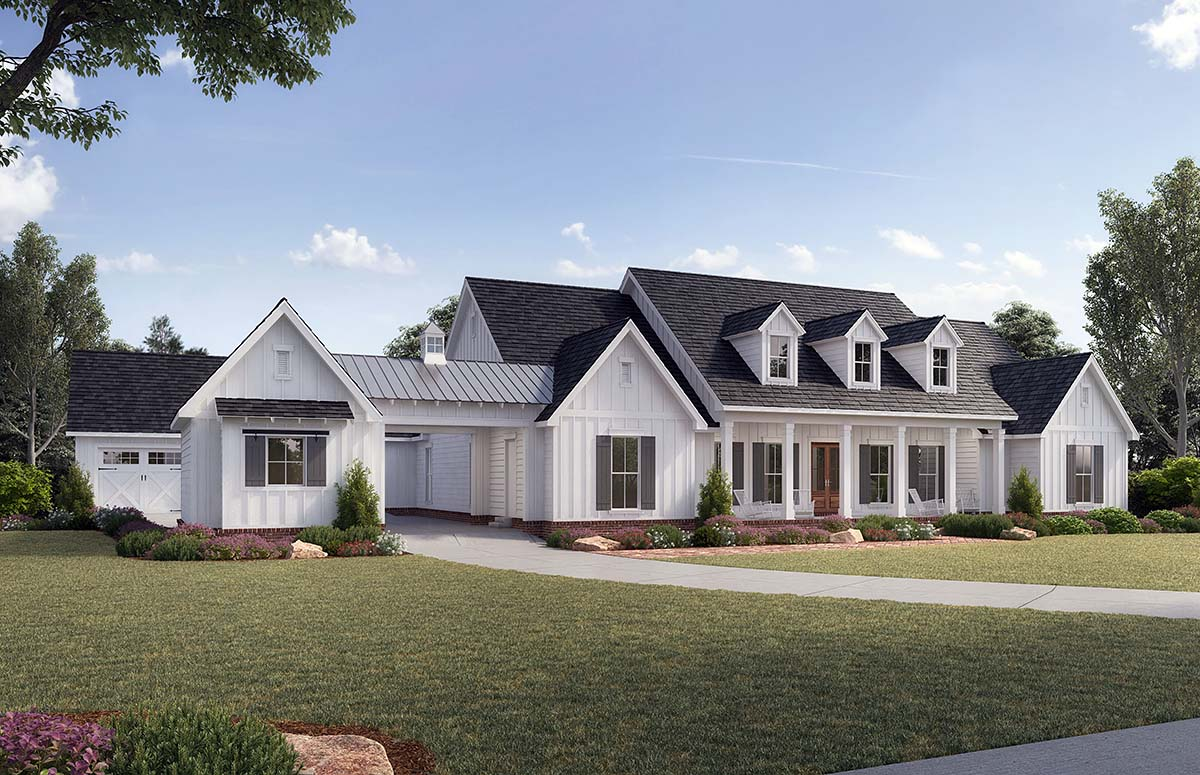Country, Farmhouse, Traditional House Plan 41401 with 4 Beds, 4 Baths, 4 Car Garage Picture 1
