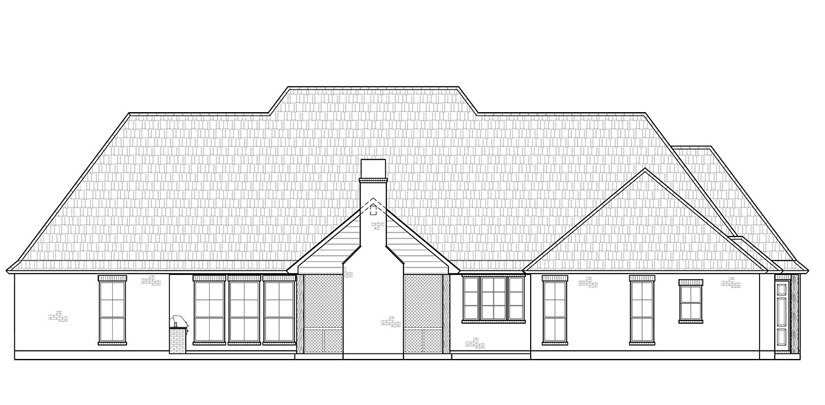 European, French Country, Traditional House Plan 41404 with 4 Beds, 4 Baths, 2 Car Garage Rear Elevation