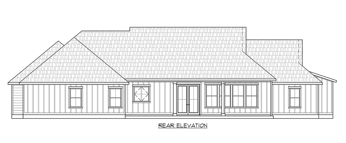 Country, Farmhouse, Southern House Plan 41407 with 3 Beds, 3 Baths, 2 Car Garage Rear Elevation