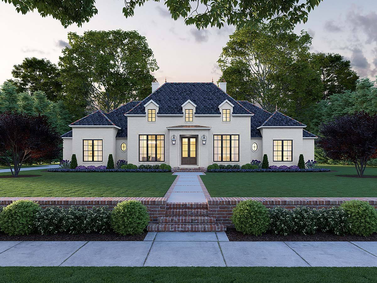 Colonial, European, French Country House Plan 41408 with 4 Beds, 3 Baths, 3 Car Garage Elevation