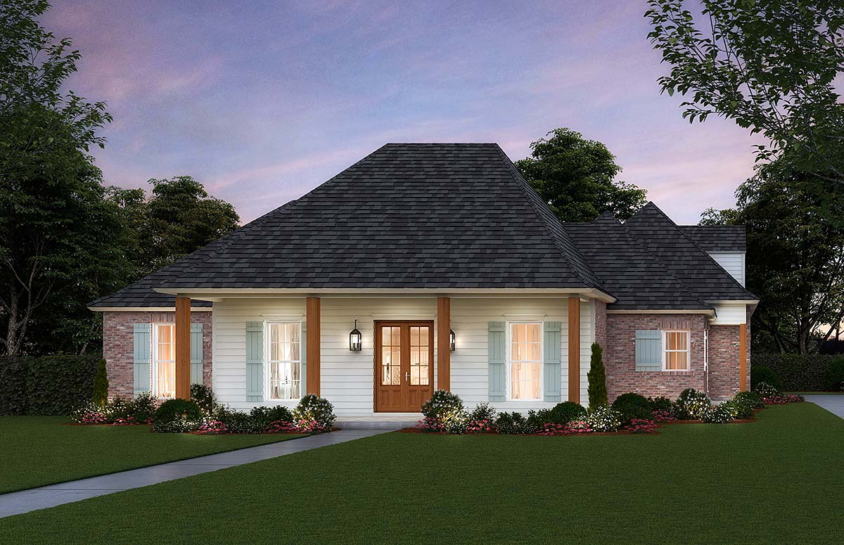 Colonial, Country, Traditional House Plan 41410 with 4 Beds, 3 Baths, 3 Car Garage Elevation