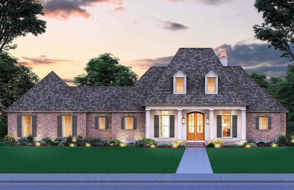 Colonial, Southern, Traditional House Plan 41411 with 4 Beds, 3 Baths, 2 Car Garage Elevation