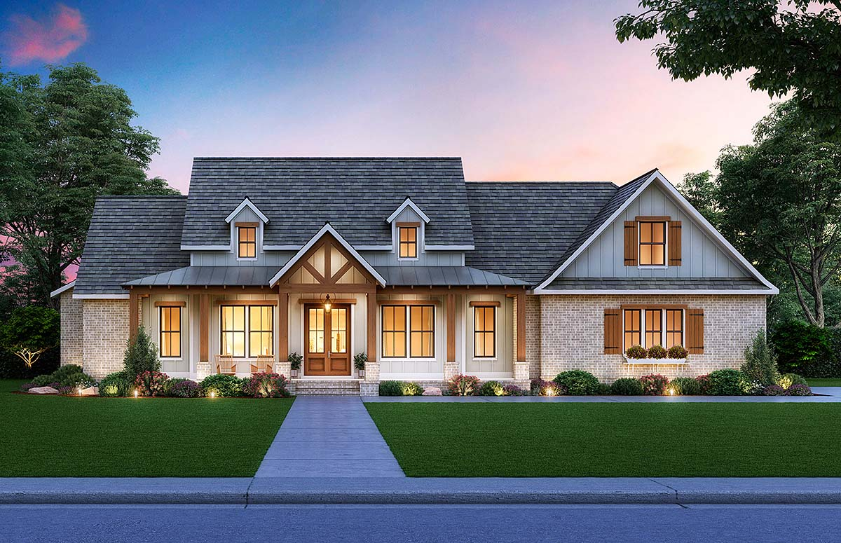 Cottage, Country, Craftsman House Plan 41413 with 3 Beds, 3 Baths, 2 Car Garage Front Elevation