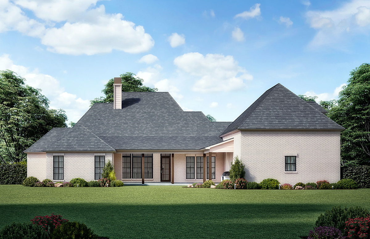 European, French Country House Plan 41414 with 4 Beds, 4 Baths, 3 Car Garage Rear Elevation