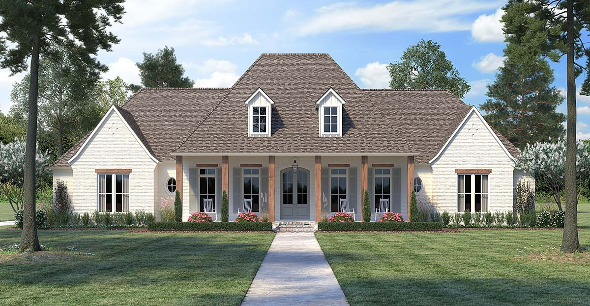 Country, European, French Country House Plan 41415 with 4 Beds, 4 Baths, 3 Car Garage Front Elevation