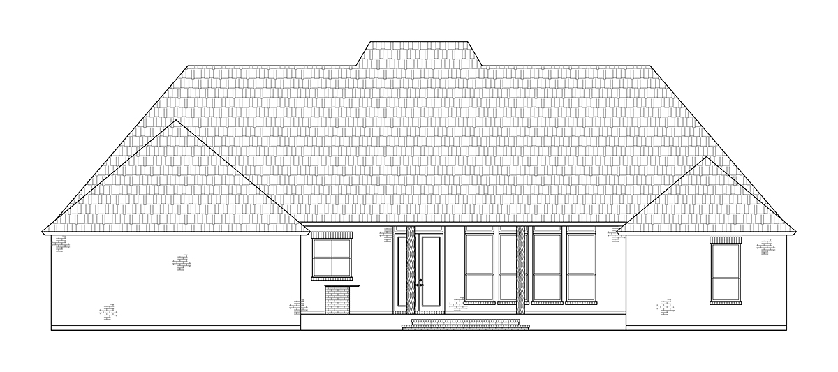 Colonial, Country, Southern House Plan 41417 with 4 Beds, 4 Baths, 2 Car Garage Rear Elevation