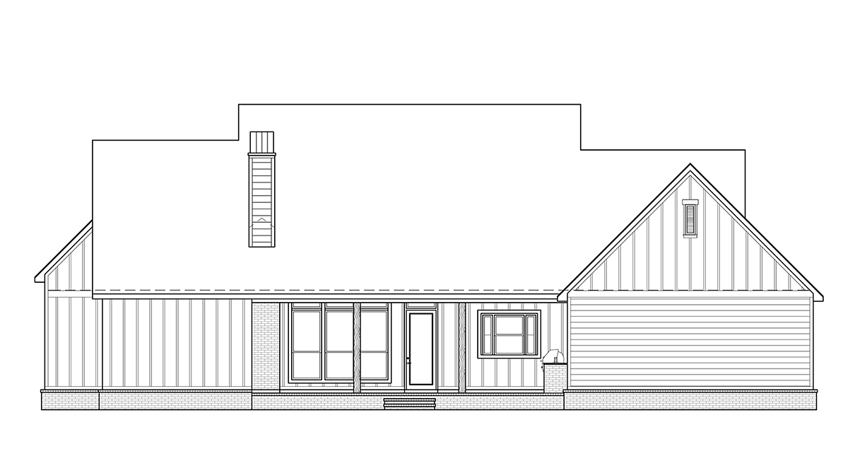 Country, Farmhouse House Plan 41419 with 4 Beds, 4 Baths, 3 Car Garage Rear Elevation
