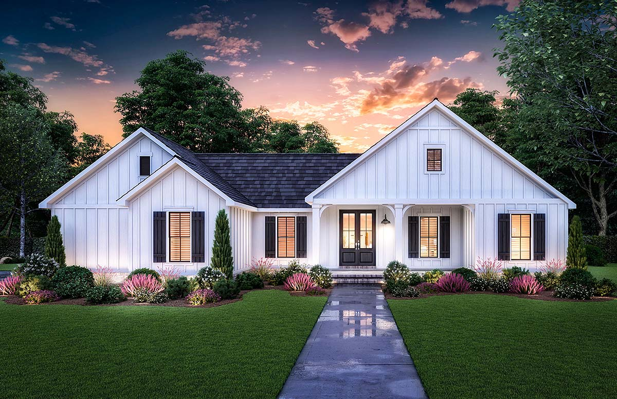 Country, Farmhouse House Plan 41421 with 3 Beds, 2 Baths, 2 Car Garage Elevation