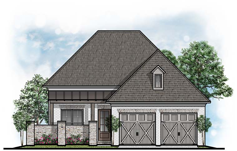 European, Southern House Plan 41638 with 3 Beds, 4 Baths, 2 Car Garage Front Elevation